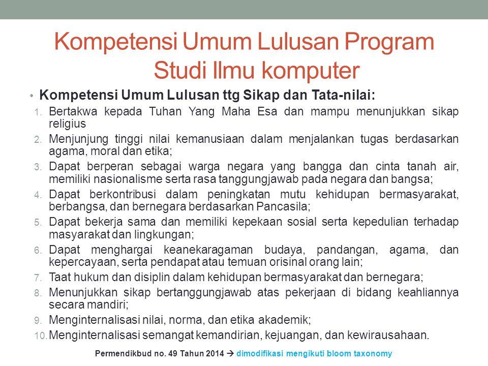 Kompetensi Umum Lulusan Program Studi Ilmu komputer