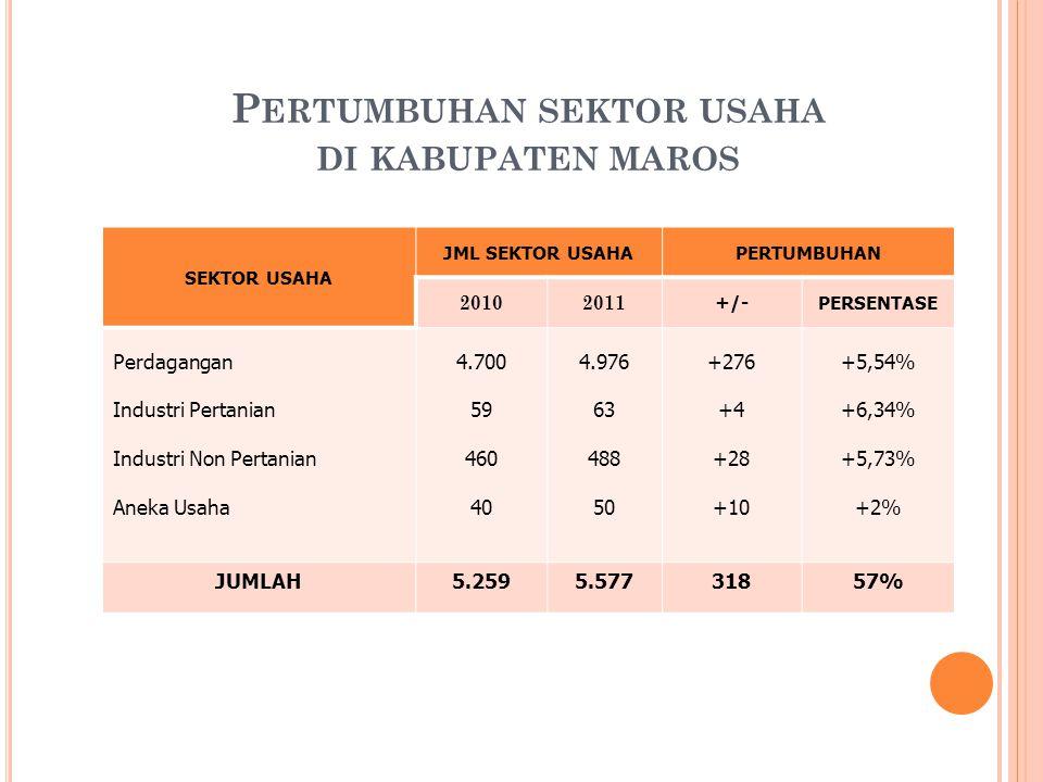 Pertumbuhan sektor usaha di kabupaten maros
