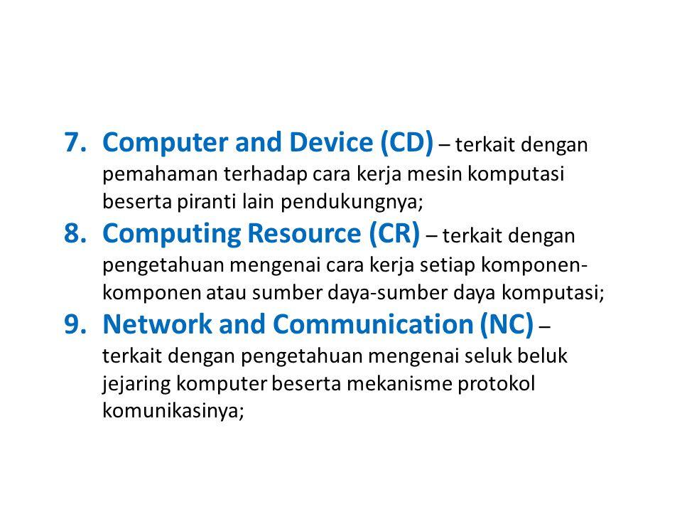 Computer and Device (CD) – terkait dengan pemahaman terhadap cara kerja mesin komputasi beserta piranti lain pendukungnya;