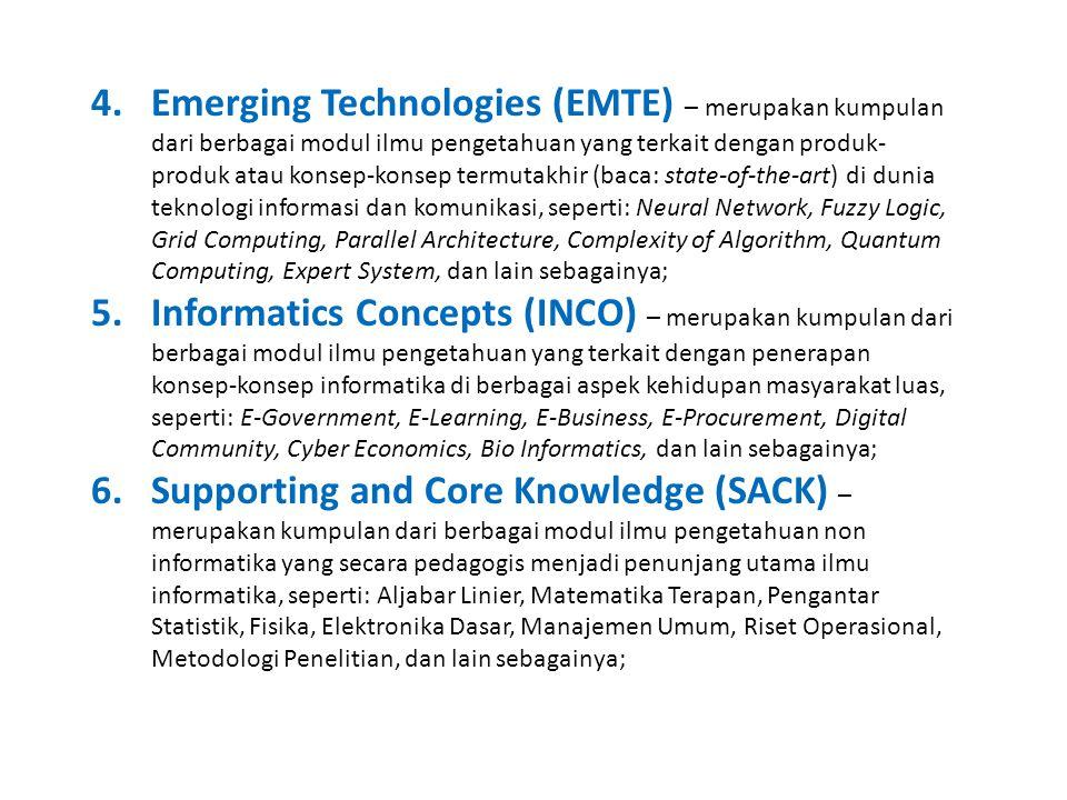 Emerging Technologies (EMTE) – merupakan kumpulan dari berbagai modul ilmu pengetahuan yang terkait dengan produk-produk atau konsep-konsep termutakhir (baca: state-of-the-art) di dunia teknologi informasi dan komunikasi, seperti: Neural Network, Fuzzy Logic, Grid Computing, Parallel Architecture, Complexity of Algorithm, Quantum Computing, Expert System, dan lain sebagainya;