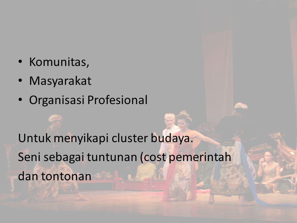Komunitas, Masyarakat. Organisasi Profesional. Untuk menyikapi cluster budaya. Seni sebagai tuntunan (cost pemerintah.