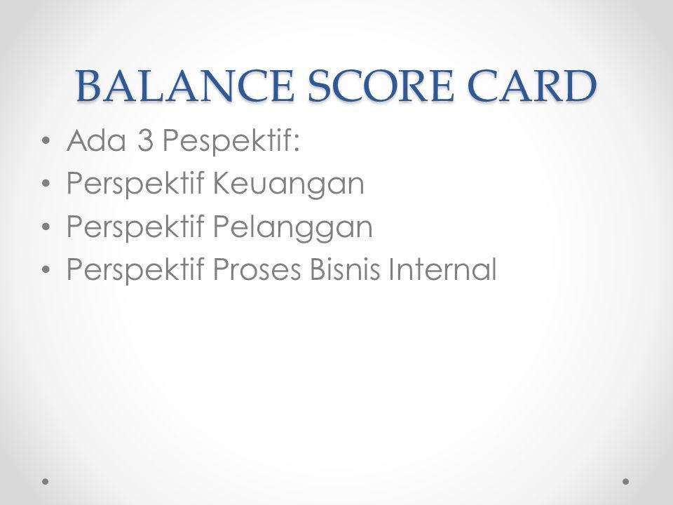 BALANCE SCORE CARD Ada 3 Pespektif: Perspektif Keuangan