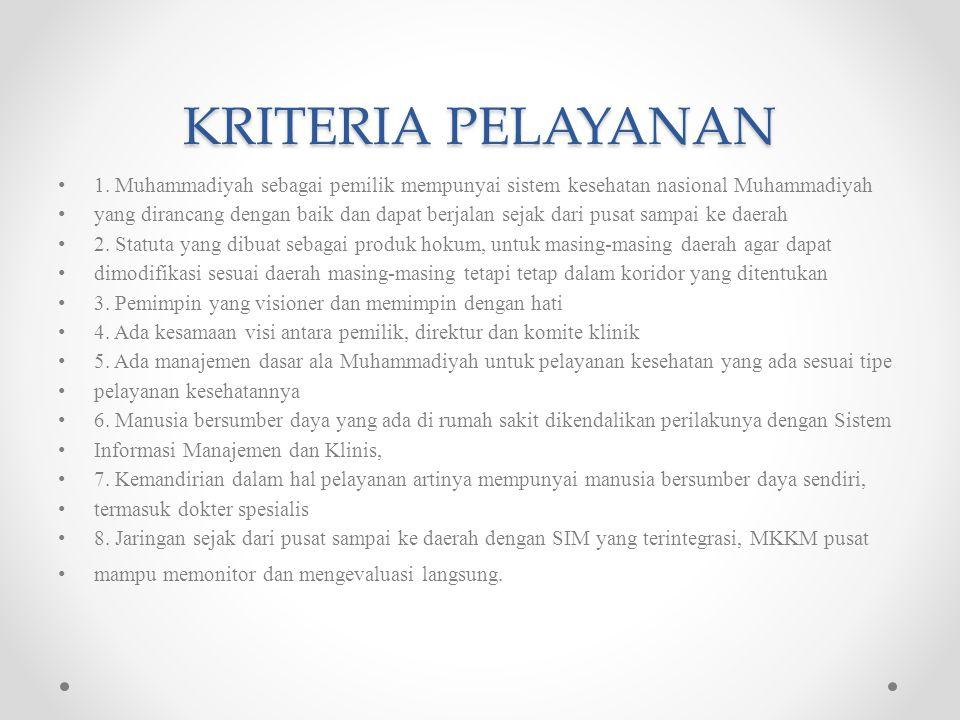 KRITERIA PELAYANAN 1. Muhammadiyah sebagai pemilik mempunyai sistem kesehatan nasional Muhammadiyah.
