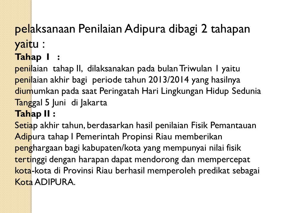 pelaksanaan Penilaian Adipura dibagi 2 tahapan yaitu :