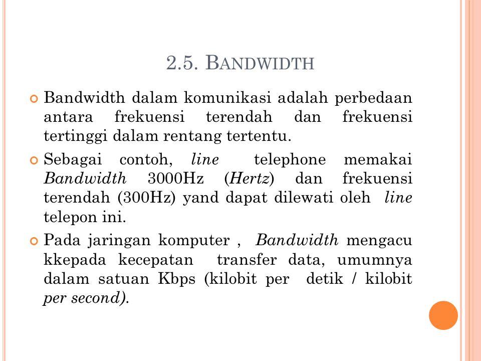 2.5. Bandwidth Bandwidth dalam komunikasi adalah perbedaan antara frekuensi terendah dan frekuensi tertinggi dalam rentang tertentu.
