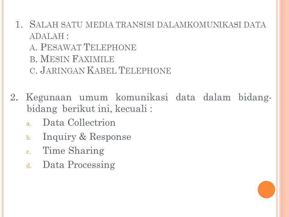 Salah satu media transisi dalamkomunikasi data adalah : a