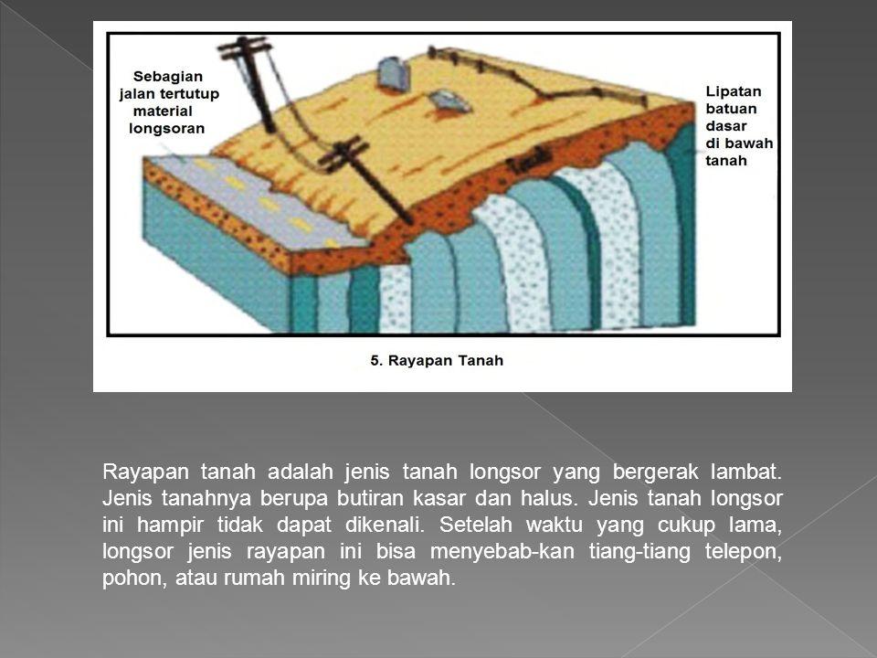 Rayapan tanah adalah jenis tanah longsor yang bergerak lambat