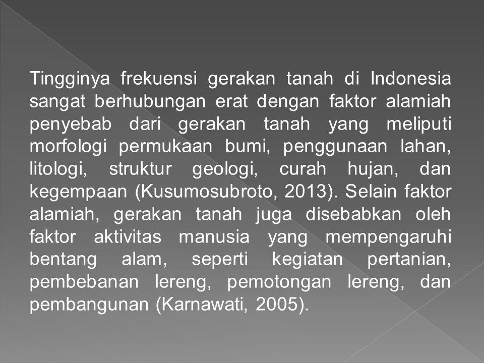 Tingginya frekuensi gerakan tanah di Indonesia sangat berhubungan erat dengan faktor alamiah penyebab dari gerakan tanah yang meliputi morfologi permukaan bumi, penggunaan lahan, litologi, struktur geologi, curah hujan, dan kegempaan (Kusumosubroto, 2013).