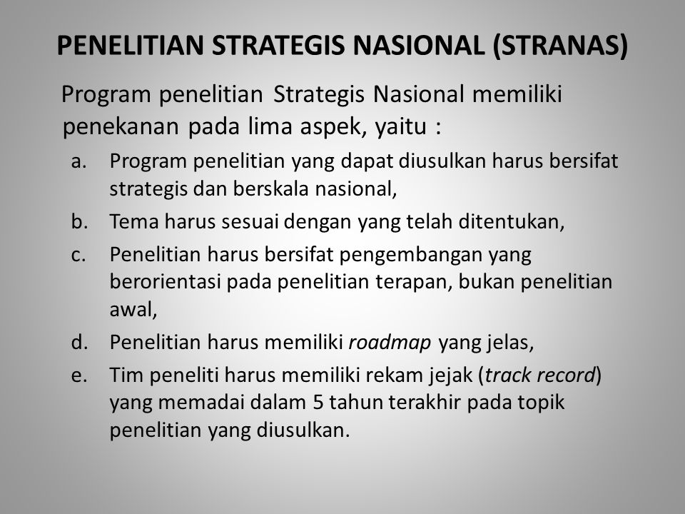 PENELITIAN STRATEGIS NASIONAL (STRANAS)