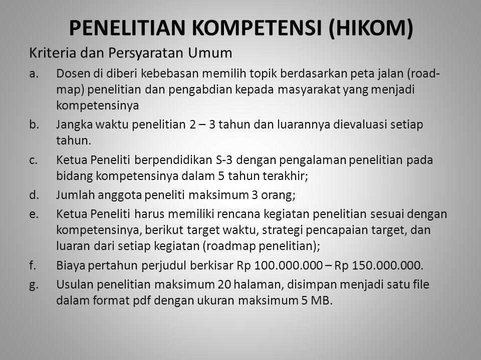 PENELITIAN KOMPETENSI (HIKOM)