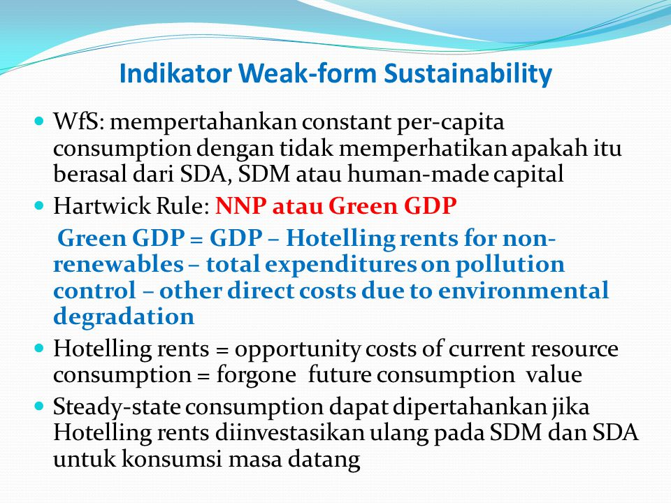 Indikator Weak-form Sustainability