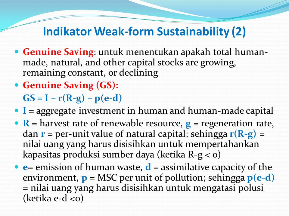 Indikator Weak-form Sustainability (2)