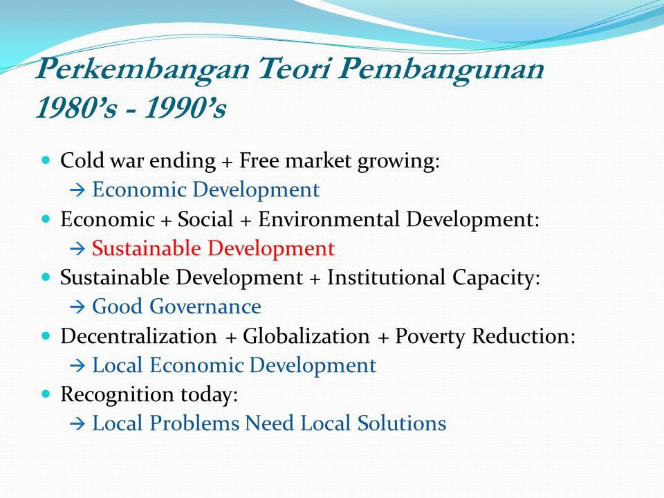 Perkembangan Teori Pembangunan 1980's - 1990's