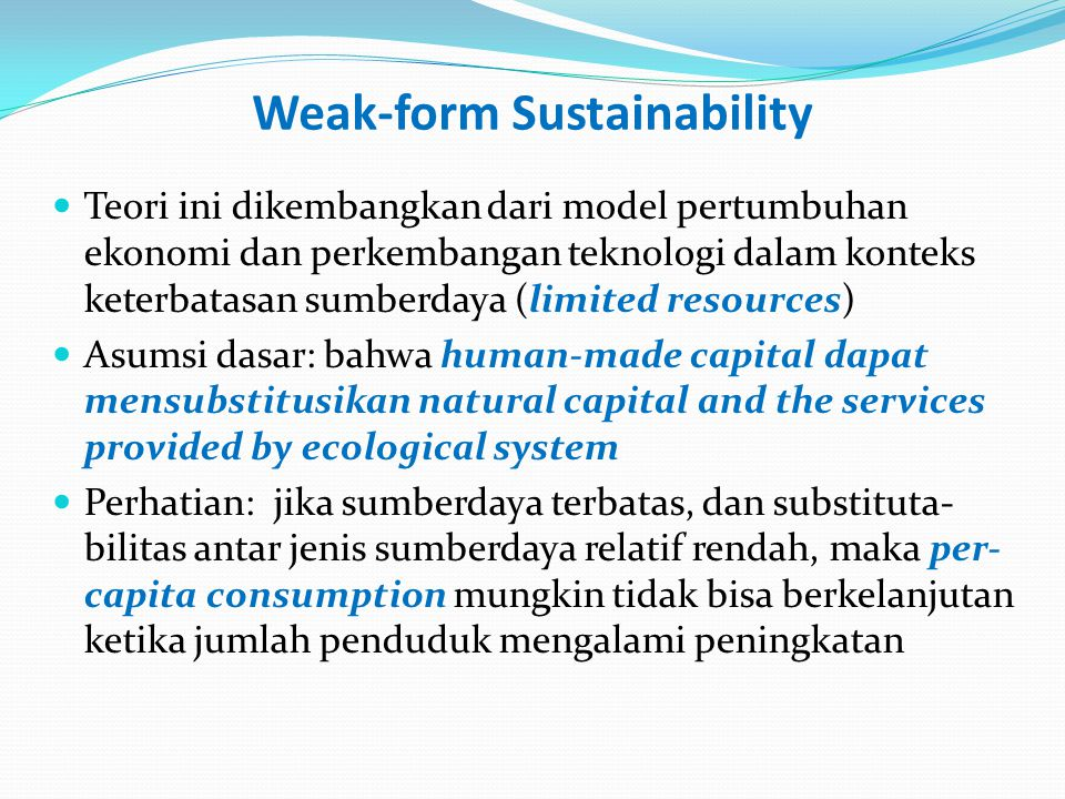 Weak-form Sustainability