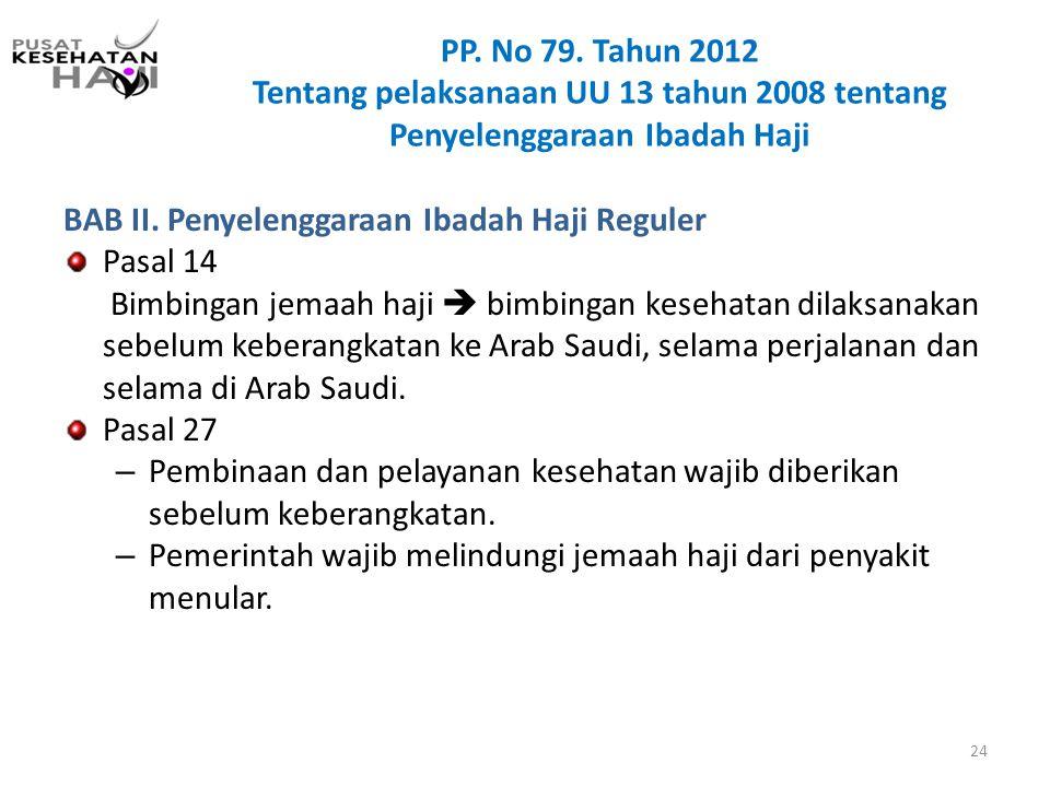 BAB II. Penyelenggaraan Ibadah Haji Reguler Pasal 14