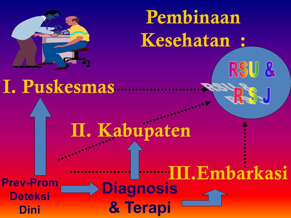 Pembinaan Kesehatan : I. Puskesmas II. Kabupaten III.Embarkasi