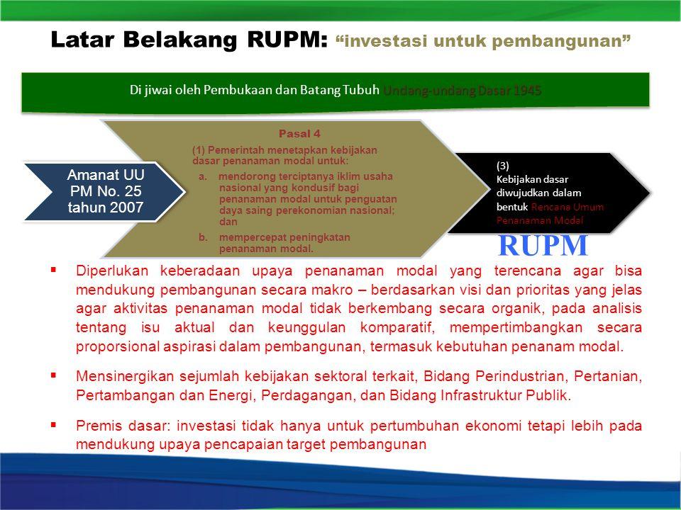 Latar Belakang RUPM: investasi untuk pembangunan