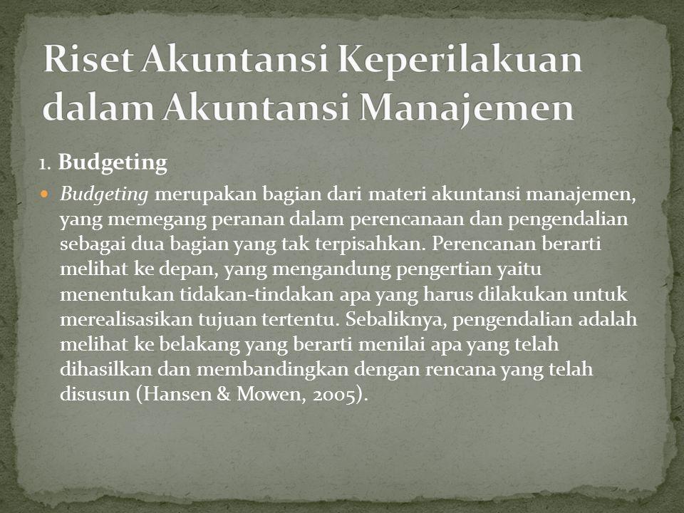Riset Akuntansi Keperilakuan dalam Akuntansi Manajemen