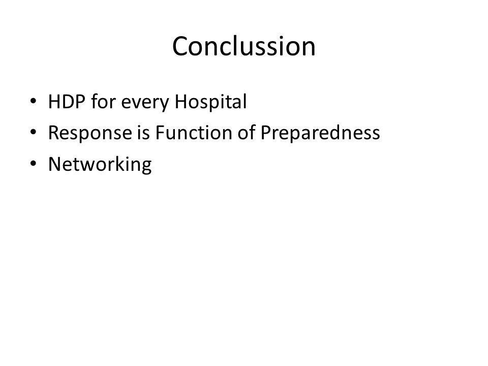 Conclussion HDP for every Hospital