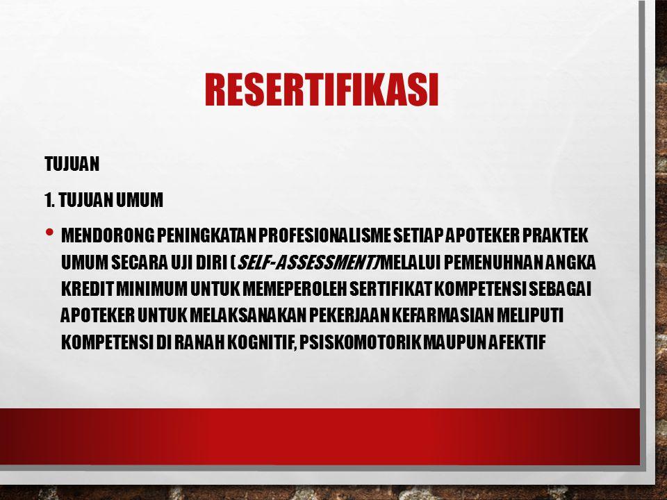 Resertifikasi TUJUAN 1. Tujuan Umum
