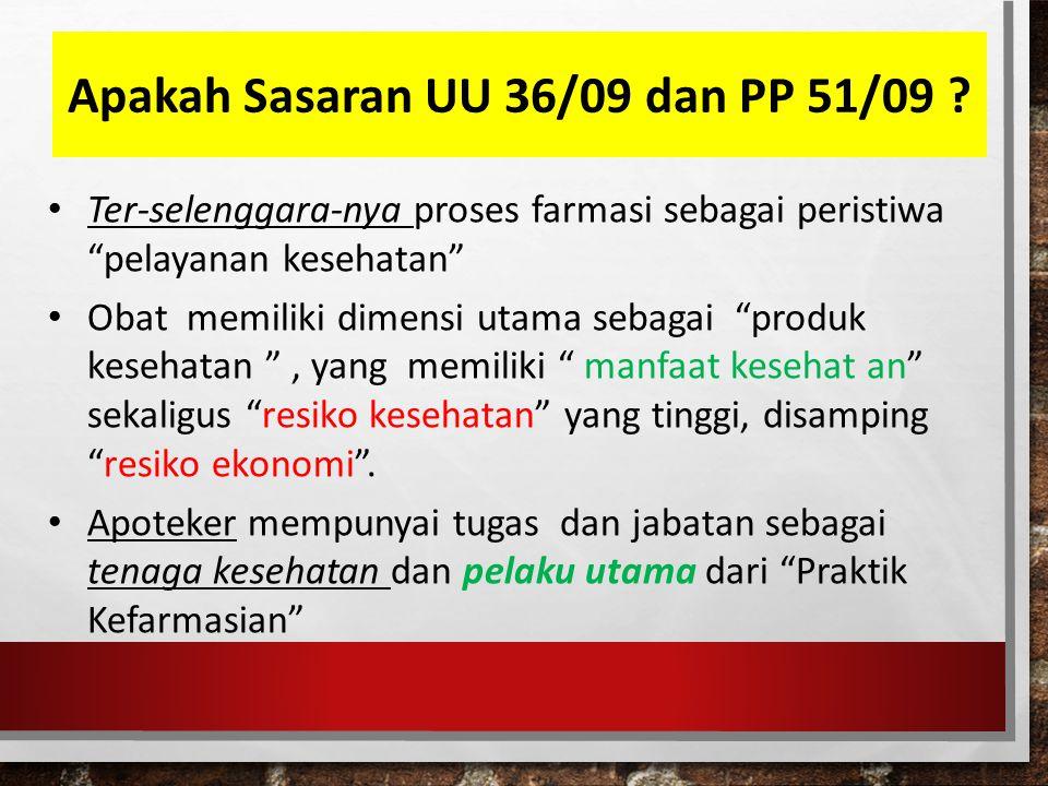 Apakah Sasaran UU 36/09 dan PP 51/09