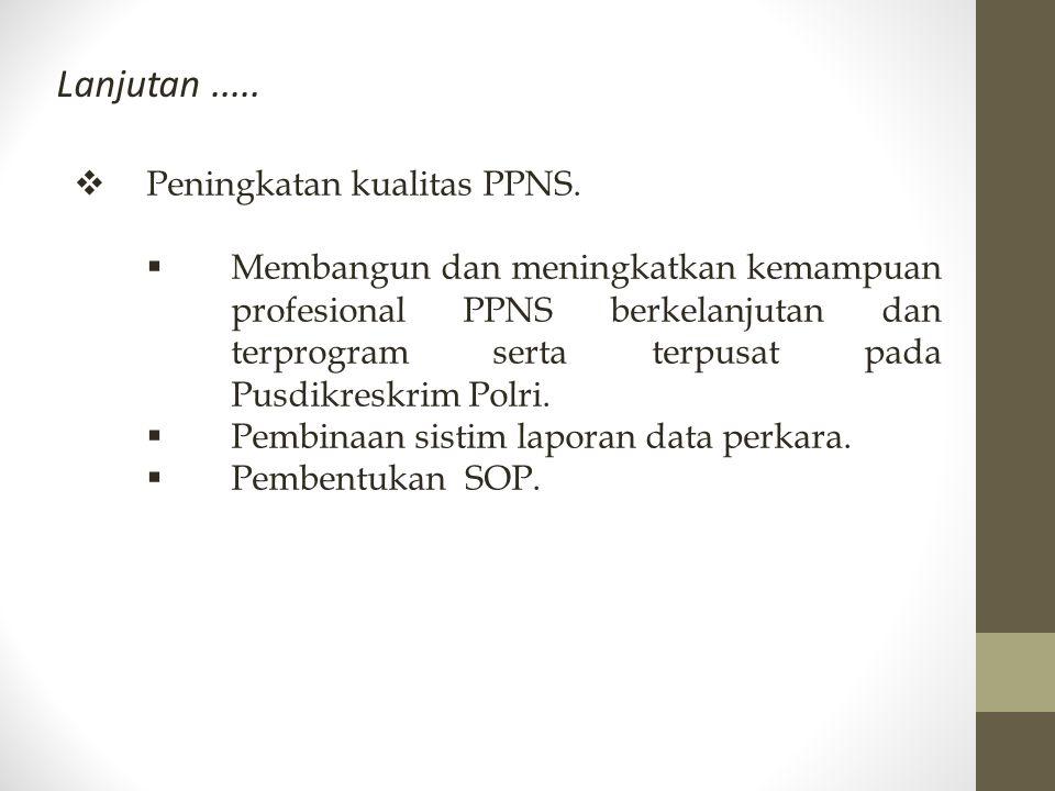 Lanjutan ..... Peningkatan kualitas PPNS.