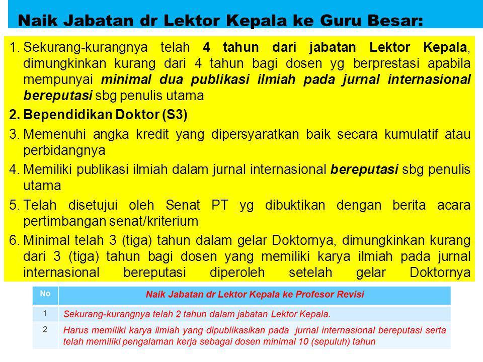 Naik Jabatan dr Lektor Kepala ke Guru Besar: