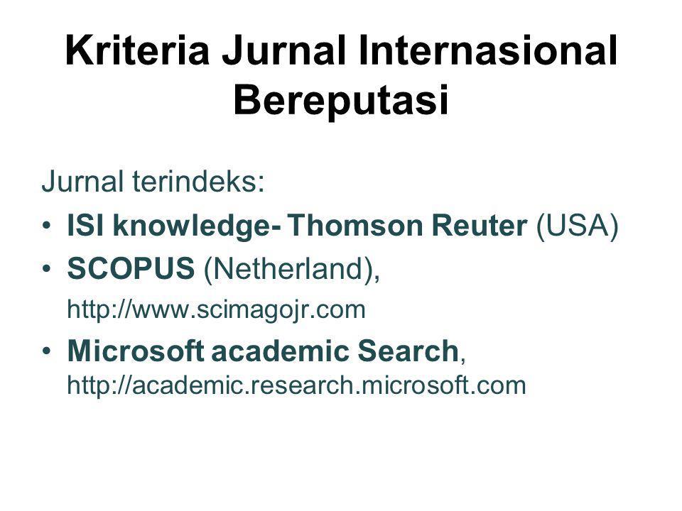 Kriteria Jurnal Internasional Bereputasi