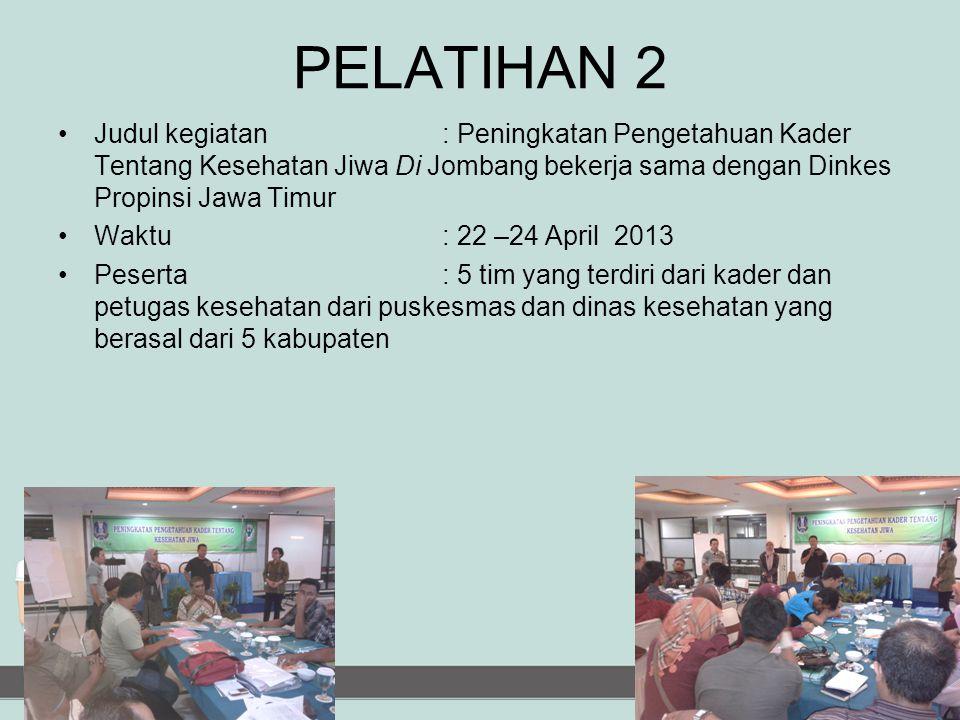 PELATIHAN 2 Judul kegiatan : Peningkatan Pengetahuan Kader Tentang Kesehatan Jiwa Di Jombang bekerja sama dengan Dinkes Propinsi Jawa Timur.
