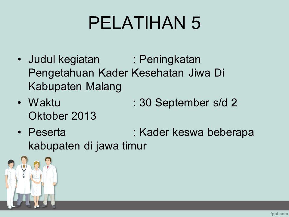 PELATIHAN 5 Judul kegiatan : Peningkatan Pengetahuan Kader Kesehatan Jiwa Di Kabupaten Malang. Waktu : 30 September s/d 2 Oktober 2013.