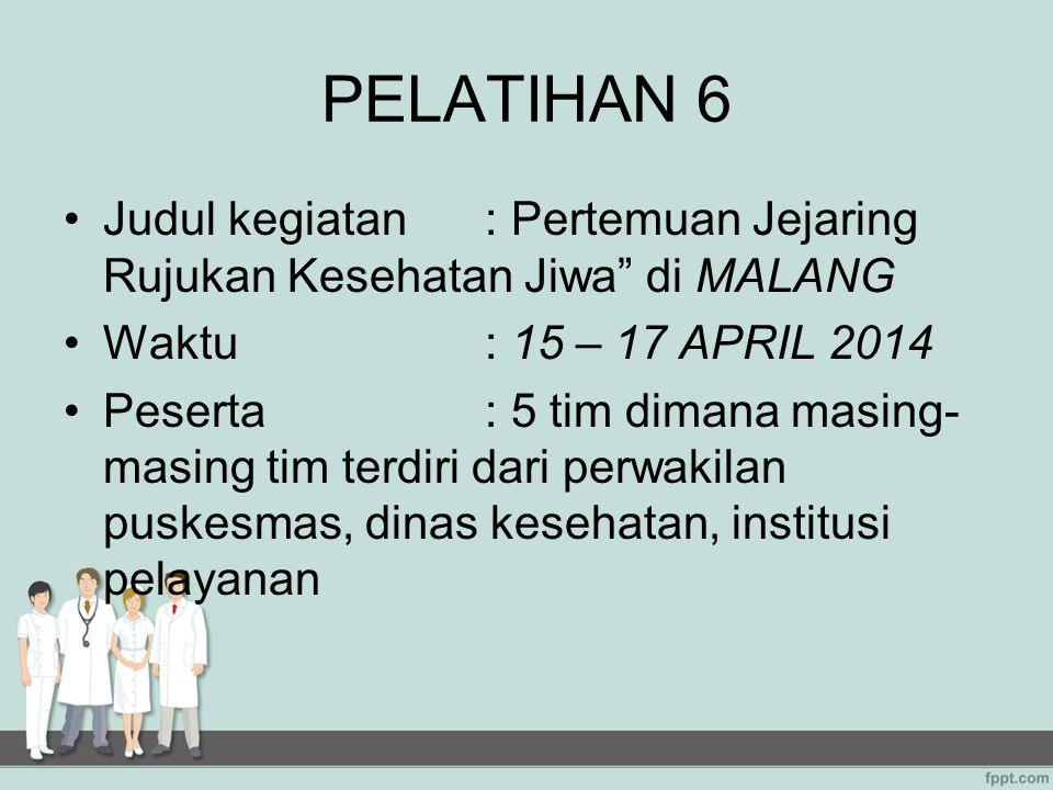 PELATIHAN 6 Judul kegiatan : Pertemuan Jejaring Rujukan Kesehatan Jiwa di MALANG. Waktu : 15 – 17 APRIL 2014.