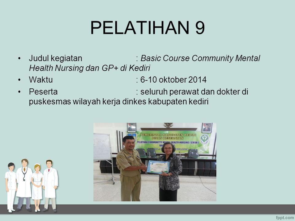 PELATIHAN 9 Judul kegiatan : Basic Course Community Mental Health Nursing dan GP+ di Kediri. Waktu : 6-10 oktober 2014.