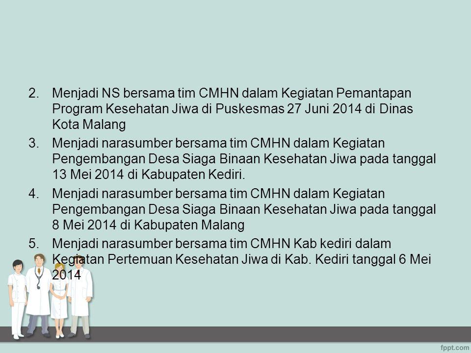 Menjadi NS bersama tim CMHN dalam Kegiatan Pemantapan Program Kesehatan Jiwa di Puskesmas 27 Juni 2014 di Dinas Kota Malang