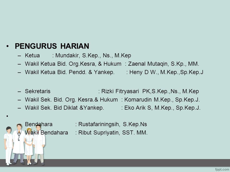 PENGURUS HARIAN Ketua : Mundakir, S.Kep., Ns., M.Kep