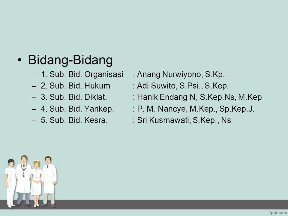 Bidang-Bidang 1. Sub. Bid. Organisasi : Anang Nurwiyono, S.Kp.