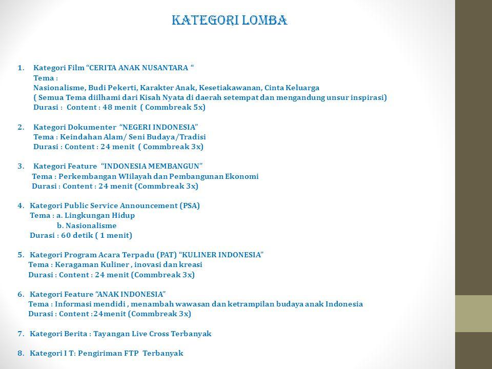 KATEGORI LOMBA 1. Kategori Film CERITA ANAK NUSANTARA Tema :