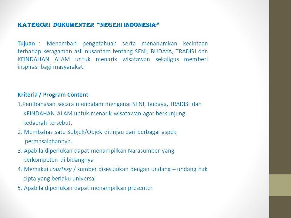KATEGORI DOKUMENTER NEGERI INDONESIA