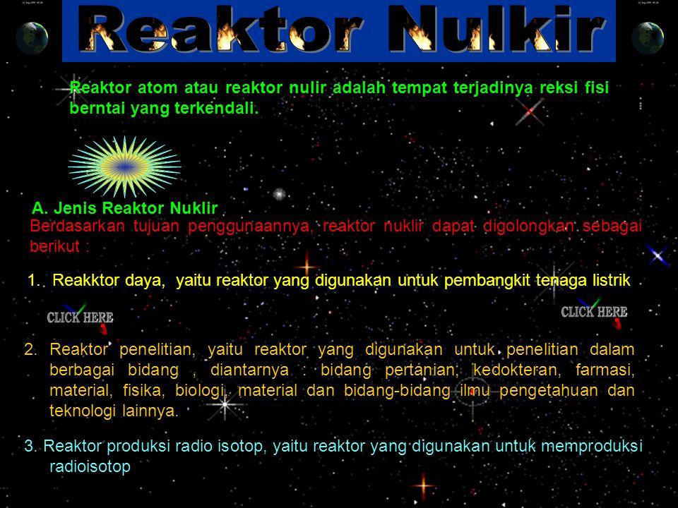 Reaktor Nulkir Reaktor atom atau reaktor nulir adalah tempat terjadinya reksi fisi berntai yang terkendali.