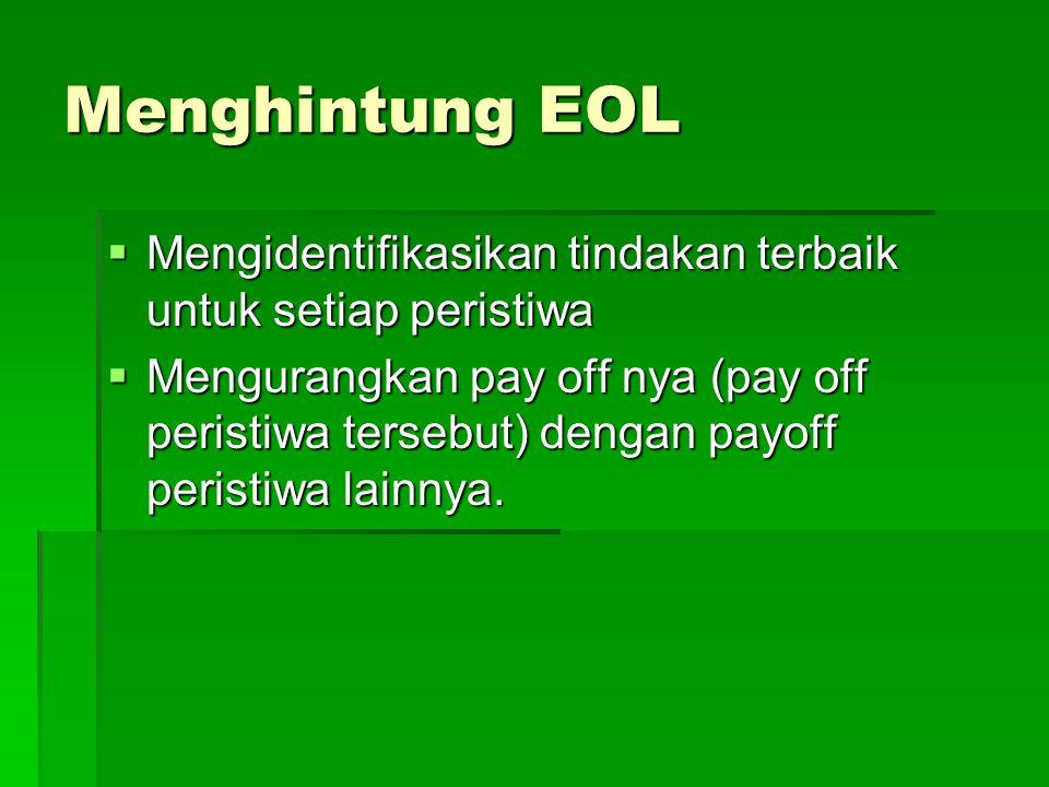 Menghintung EOL Mengidentifikasikan tindakan terbaik untuk setiap peristiwa.