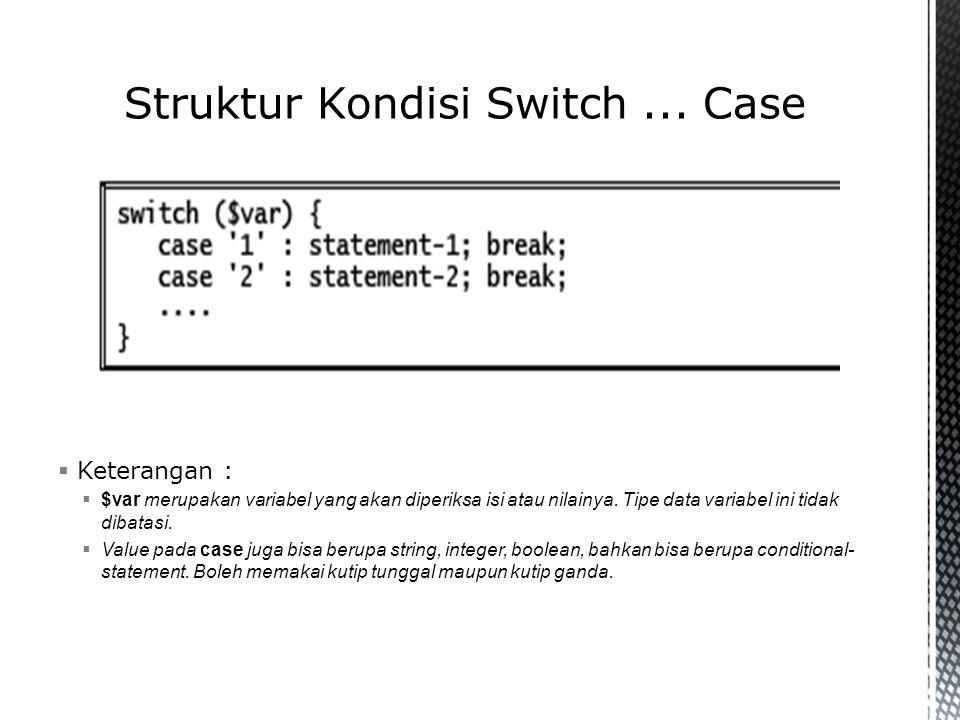 Struktur Kondisi Switch ... Case