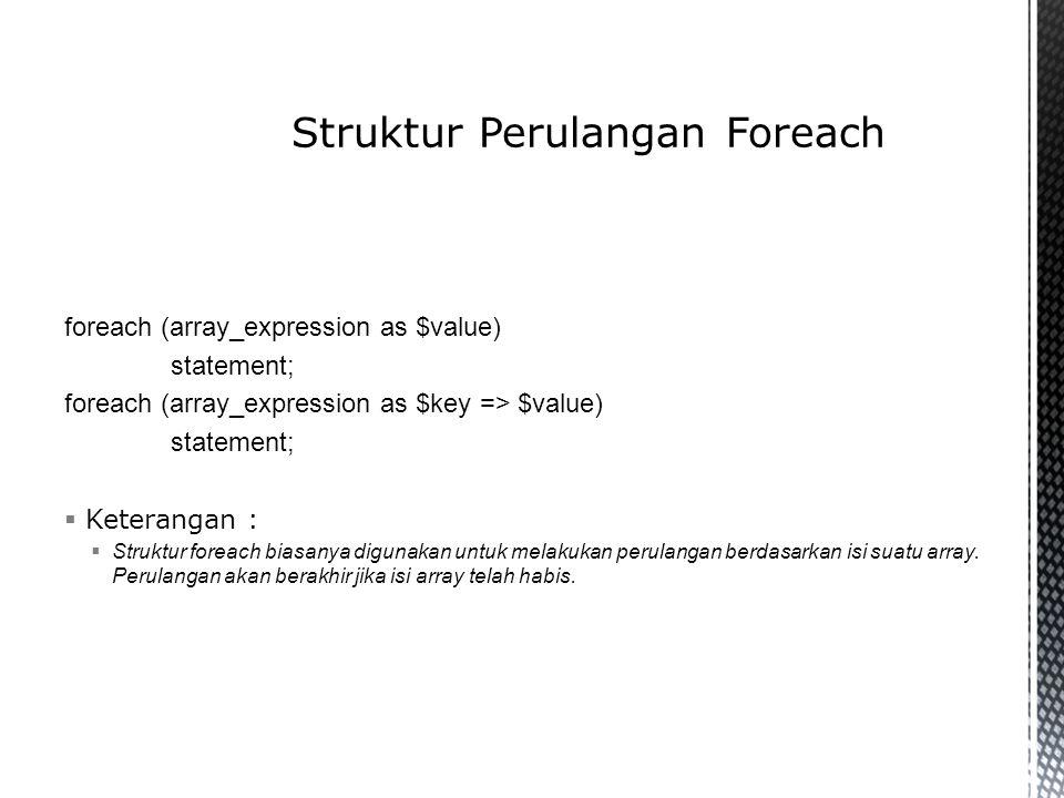 Struktur Perulangan Foreach
