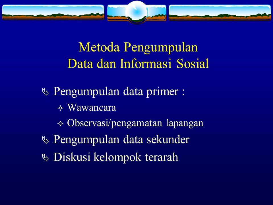 Metoda Pengumpulan Data dan Informasi Sosial