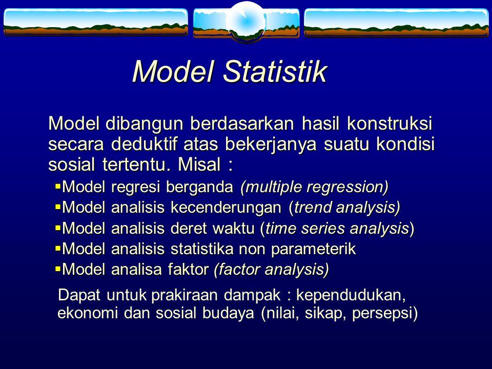 Model Statistik Model dibangun berdasarkan hasil konstruksi secara deduktif atas bekerjanya suatu kondisi sosial tertentu. Misal :