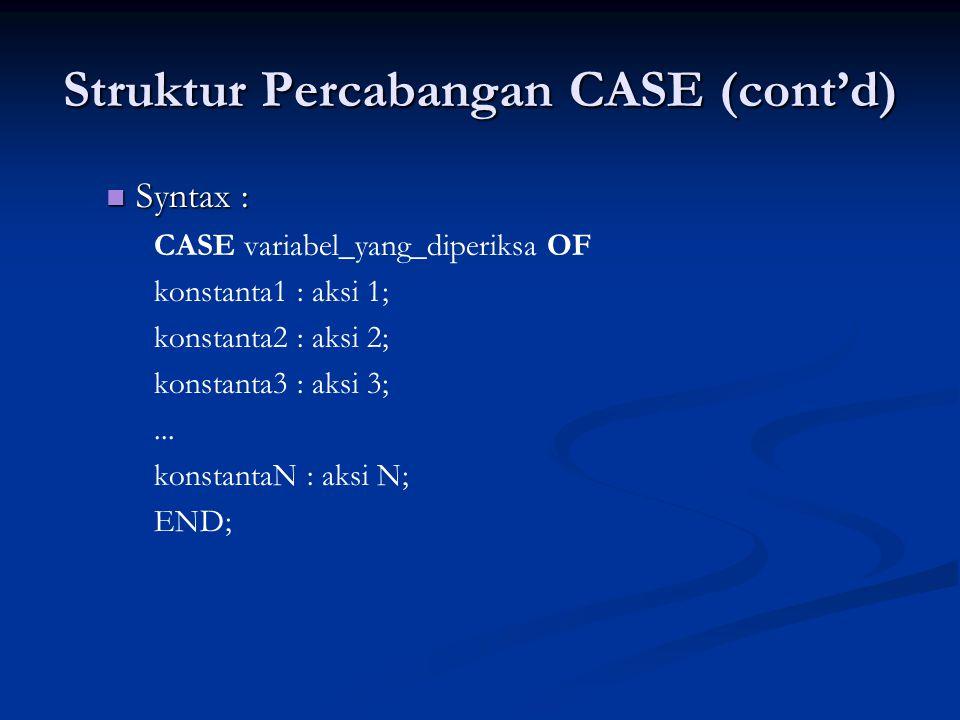 Struktur Percabangan CASE (cont'd)