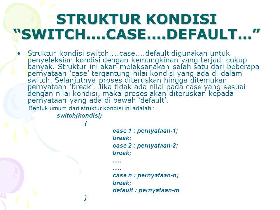 STRUKTUR KONDISI SWITCH....CASE....DEFAULT…