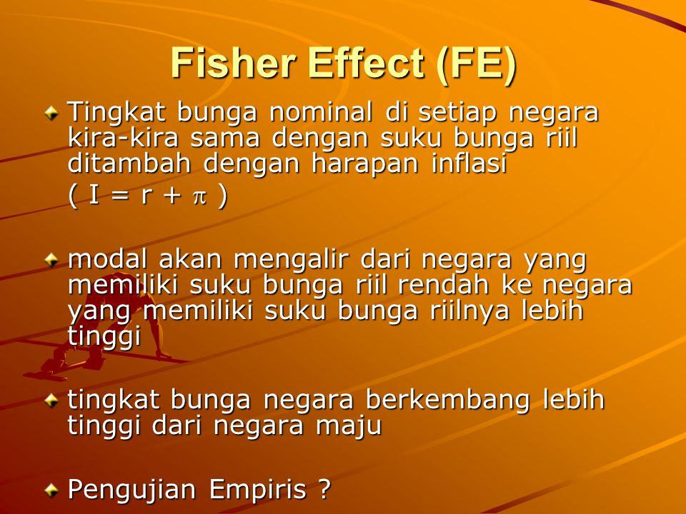 Fisher Effect (FE) Tingkat bunga nominal di setiap negara kira-kira sama dengan suku bunga riil ditambah dengan harapan inflasi.