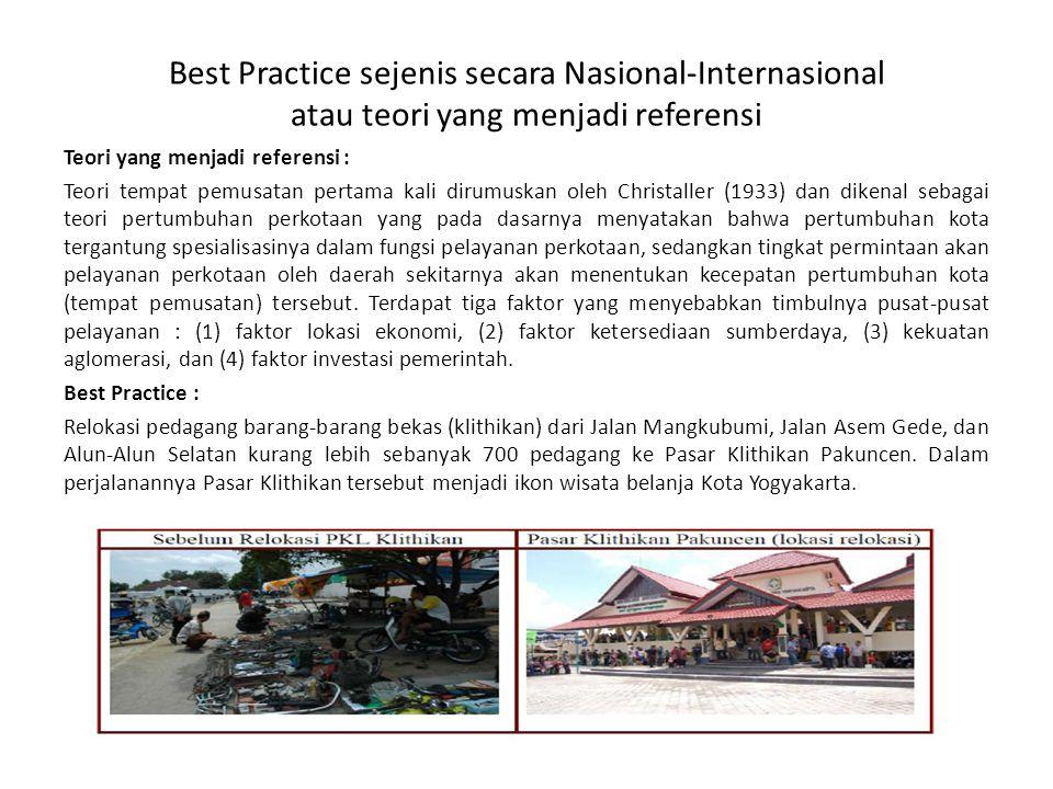 Best Practice sejenis secara Nasional-Internasional atau teori yang menjadi referensi