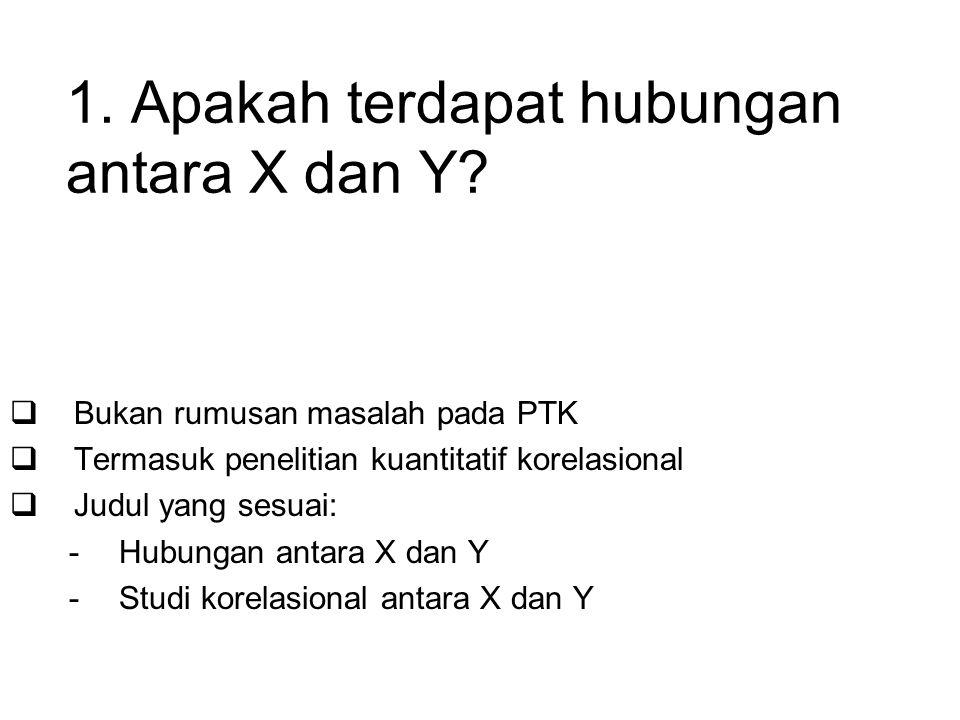 1. Apakah terdapat hubungan antara X dan Y