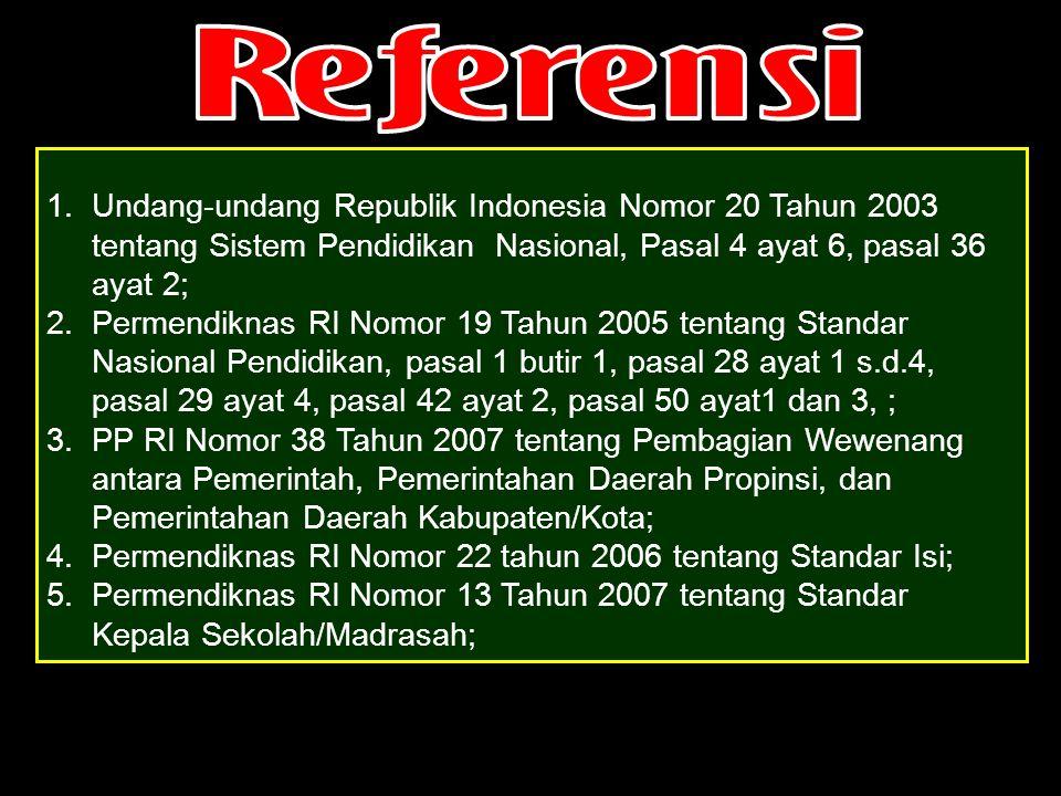 Permendiknas RI Nomor 22 tahun 2006 tentang Standar Isi;
