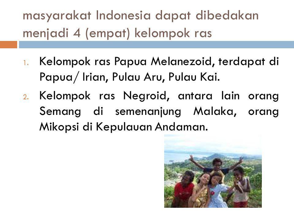 masyarakat Indonesia dapat dibedakan menjadi 4 (empat) kelompok ras